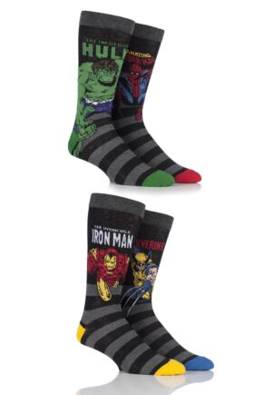 Mens 4 Pair SockShop Marvel Comics Mix Hulk, Spider-Man, Iron Man and Wolverine Socks Assorted 6-11