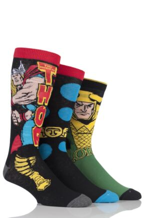 Mens 3 Pair SOCKSHOP Marvel Thor and Loki Cotton Socks
