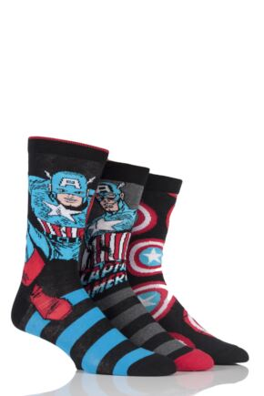 Mens 3 Pair SOCKSHOP Marvel Captain America Mix Cotton Socks