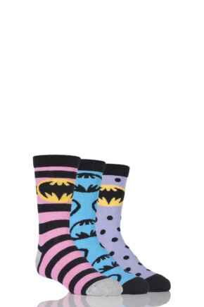 Girls 3 Pair SOCKSHOP Batman / Batgirl Striped, Spotty and All Over Motif Cotton Socks