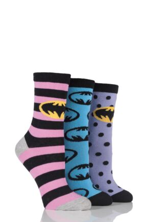 Ladies 3 Pair SockShop Batman / Batgirl Striped, Spotty and All Over Motif Cotton Socks