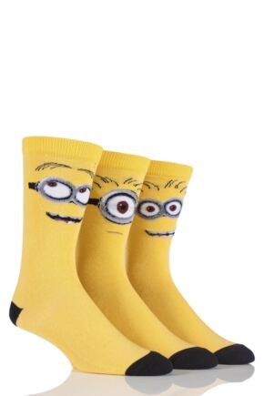 Mens 3 Pair SockShop Despicable Me Minions Faces Cotton Socks Yellow 11-13