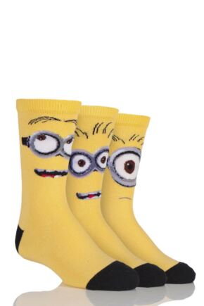 Kids 3 Pair SockShop Despicable Me Minions Faces Cotton Socks Yellow 12.5-5