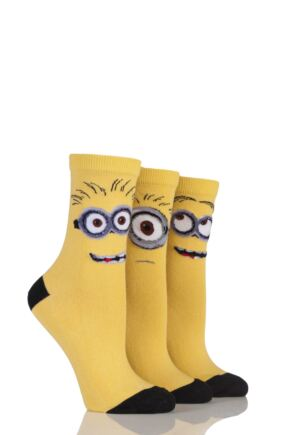 Ladies 3 Pair SockShop Despicable Me Minions Faces Cotton Socks Yellow 4-8
