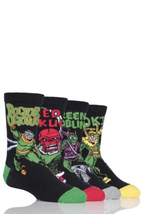Kids 4 Pair SOCKSHOP Marvel Villains Doctor Octopus, Green Goblin, Red Skull and Loki Cotton Socks
