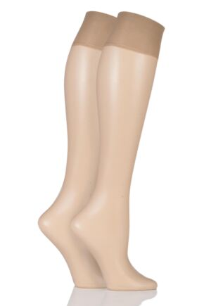 Ladies 2 Pair Charnos Simply Bare Knee Highs