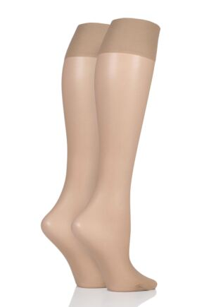 Ladies 2 Pair Charnos 15 Denier Trouserwear Knee Highs