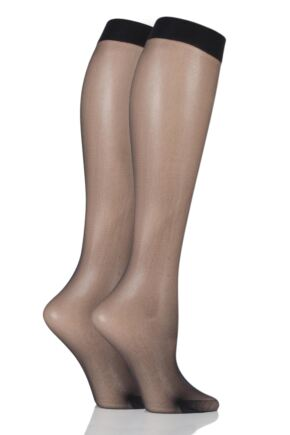 Ladies 2 Pair Charnos 10 Denier Run Resist Knee Highs