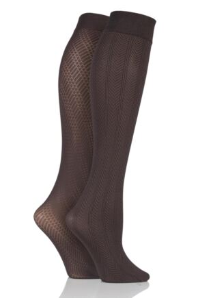 Ladies 2 Pair Charnos Chevron and Diamond Design Opaque Knee Highs