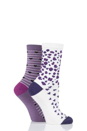 Ladies 2 Pair Charnos Cotton Animal and Hearts Socks