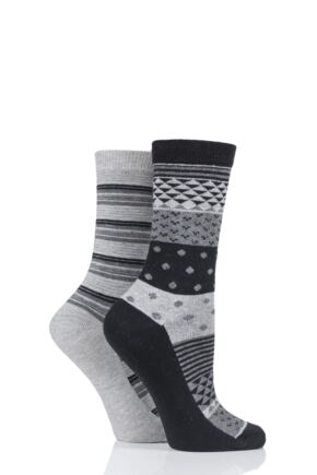 Ladies 2 Pair Charnos Cotton Geo Print and Stripes Socks
