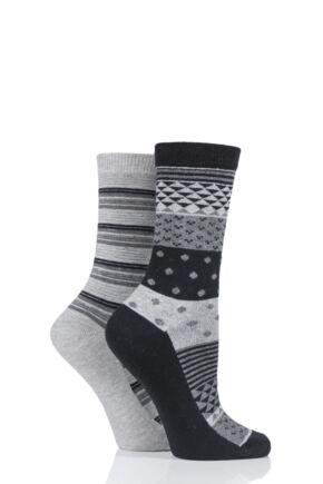 Ladies 2 Pair Charnos Cotton Geo Print and Stripes Socks Grey 4-8 Ladies
