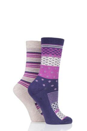 Ladies 2 Pair Charnos Cotton Geo Print and Stripes Socks
