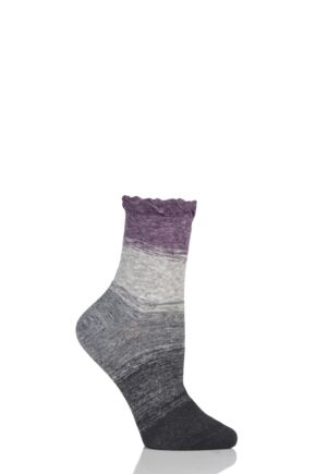 Ladies 1 Pair Charnos Slouch Stripe Cotton Socks Plum