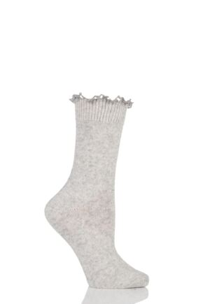 Ladies 1 Pair Charnos Lace Top Wool Cashmere Blend Socks Silver Grey