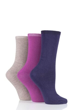 Ladies 3 Pair Charnos Comfort Top Sock Berry Mix One Size