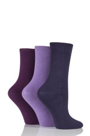 Ladies 3 Pair Charnos Comfort Top Crew Socks Mulberry Mix 4-8 Ladies