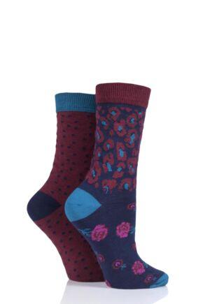 Ladies 2 Pair Charnos Animal Floral Cotton Socks Berry 4-8 Ladies