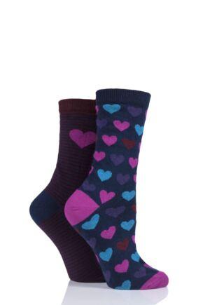 Ladies 2 Pair Charnos Hearts Cotton Socks Berry 4-8 Ladies