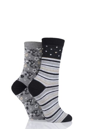 Ladies 2 Pair Charnos Stripe and Floral Cotton Socks