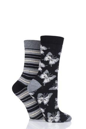Ladies 2 Pair Charnos Butterfly and Stripe Cotton Socks