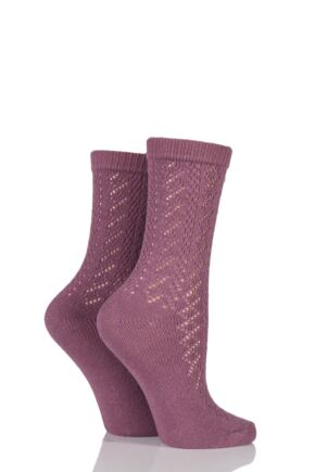 Ladies 2 Pair Charnos Pelerine Socks Rose