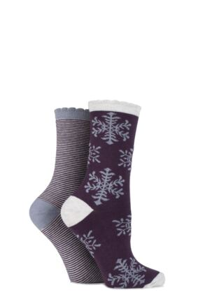 Ladies 2 Pair Charnos Snowflake and Striped Cotton Socks 25% OFF Grape Mix 4-8