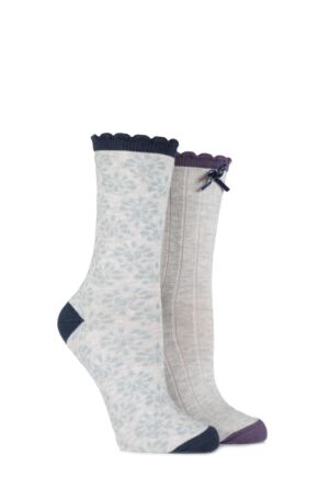 Ladies 2 Pair Charnos Ribbed and Floral Cotton Socks 25% OFF