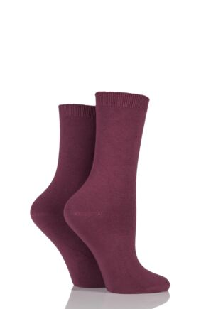 Ladies 2 Pair Charnos Cotton Modal Socks Berry 4-8 Ladies