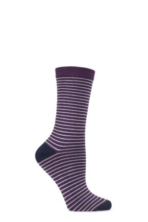 Ladies 1 Pair Charnos Bamboo Narrow Striped Socks with Contrast Heel and Toe Grape 4-8