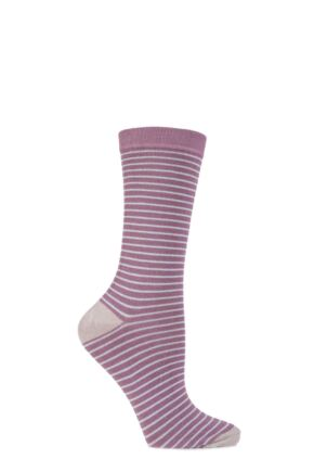 Ladies 1 Pair Charnos Bamboo Narrow Striped Socks with Contrast Heel and Toe Rose 4-8