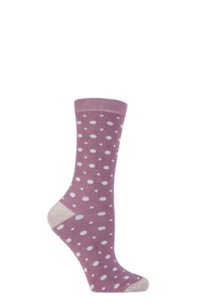 Ladies 1 Pair Charnos Bamboo Spotty Socks with Contrast Heel and Toe 25% OFF Rose 4-8