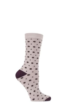 Ladies 1 Pair Charnos Bamboo Spotty Socks with Contrast Heel and Toe 25% OFF