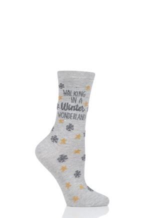 Ladies 1 Pair Charnos Cotton Christmas Winter Wonderland Socks