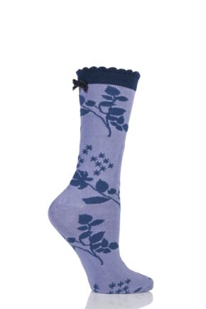 Ladies 1 Pair Charnos Floral Bamboo Socks with Bow Lilac Mix