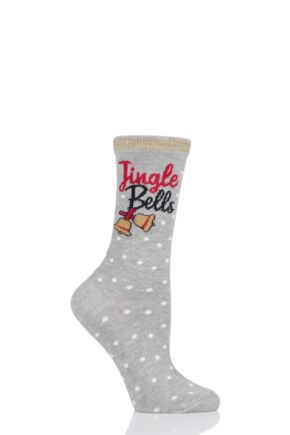 Ladies 1 Pair Charnos Cotton Christmas Jingle Bells Socks