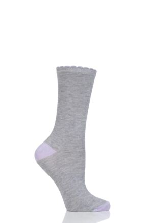 Ladies 1 Pair Charnos Contrast Heel and Toe Bamboo Socks