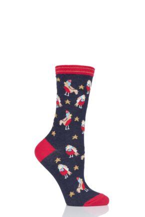 Ladies 1 Pair Charnos Cotton Christmas Robins Socks