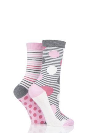 Ladies 2 Pair Charnos Spot and Stripe Socks