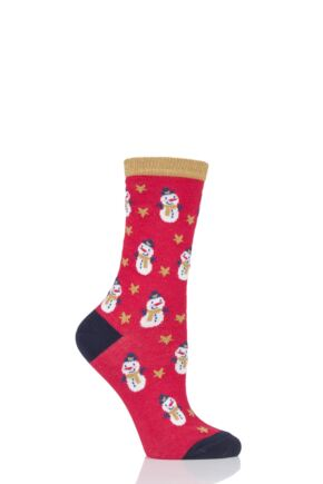 Ladies 1 Pair Charnos Cotton Christmas Snowman Socks