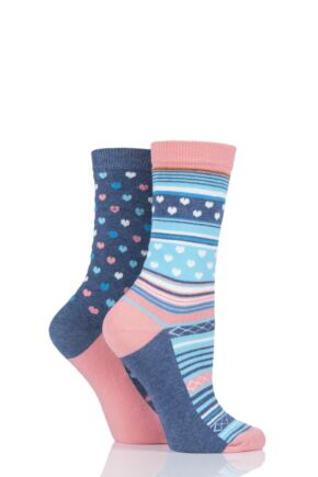 Ladies 2 Pair Charnos Heart and Stripe Socks