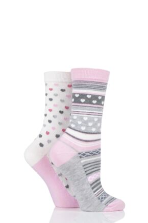 Ladies 2 Pair Charnos Heart and Stripe Socks Grey 4-8 Ladies