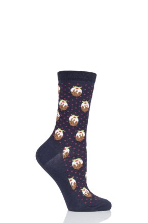 Ladies 1 Pair Charnos Cotton Christmas Pudding Socks