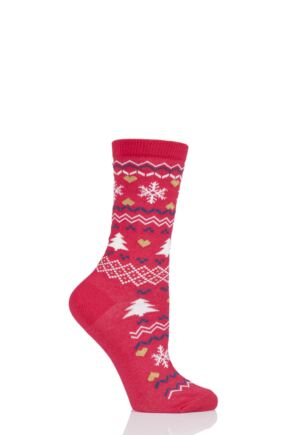 Ladies 1 Pair Charnos Cotton Christmas Fairisle Socks