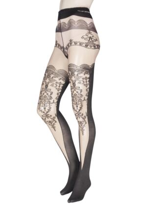 Ladies 1 Pair Trasparenze Champagne Mock Hold Up Tights