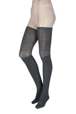 Ladies 1 Pair Tavi Noir Charlie Thigh High Yoga Organic Cotton Socks with Grip