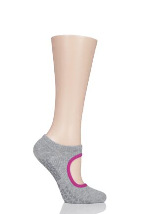 Ladies 1 Pair Tavi Noir Open Front Grip Yoga Organic Cotton Socks