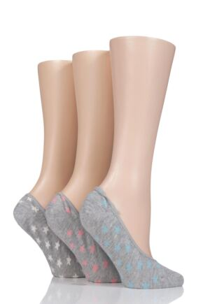 Ladies 3 Pair Charnos Plain and All Star Patterned Footie Socks