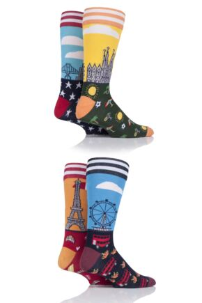 Mens 4 Pair Moustard World Cities Cotton Socks In Gift Box