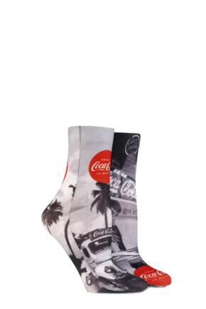 Ladies 2 Pair Coca Cola Vintage Printed Socks Black / White
